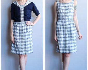 1960s Dress + Cardigan // Plaid Sheath Dress & Orlon Cardigan // vintage 60s dress set