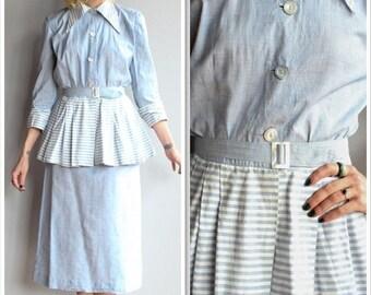 20% Off Sale // 1940s Set // Surrey Classic Chambray Stripe Blouse & Skirt // vintage 40s summer suit