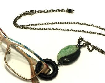 ON SALE Eyeglass Chains / Green Eyeglass Necklace / Green Eyeglass Lanyard / Eyeglass Holders / Gift for Reader / Beaded Eyeglass Necklace /