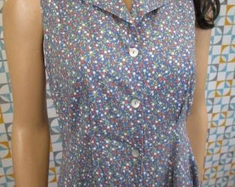 12 M - Vintage 90's Laura Ashley Dress Blue Floral Summer Cotton - L664