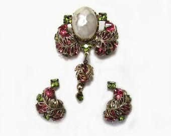 1940s Filigree brooch & earring set - green and pink rhinestones - faux pearl - screwback earrings