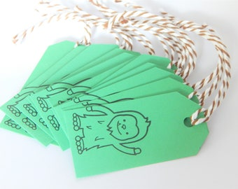 BIGFOOT Tags - Qty 12 - Small Tag - 1 5/8 x 3 1/4 inches - Favor Packaging - Bigfoot party - Sasquatch - Green and brown