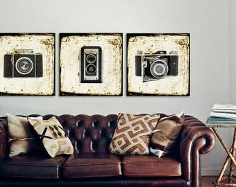 FLASH SALE til MIDNIGHT Set of Three Square Vintage Camera Photo Prints, Office Decor, Wall art, Vintage Camera Decor