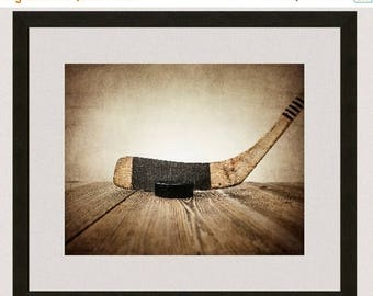 WEEKEND SALE Vintage Hockey Stick and Puck on Wood  Photo Print, Sports Decor, Vintage Hockey and Puck,