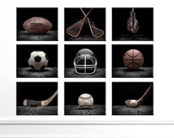 WEEKEND SALE The Sports Collection Classic Black Series, Set of Nine CANVAS Prints, Nursery Decor, Rustic Decor, Vintage Sports Decor, Sport