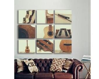 FLASH SALE til MIDNIGHT Guitar Wall Art, Acoustic Guitar Parts Vintage Color Tone, Set of Nine Stretched Canvas Prints, Music theme, guitar