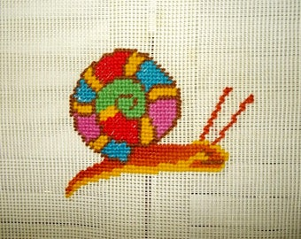 "Vintage Needlepoint Canvas-Brightly Colored Snail-Reynolds-14.5"" square-FREE SHIPPING!"
