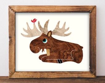 Moose Art Print 8x10, Baby Moose Animal Nursery Wall Art, Woodland Animal Art Print, Moose Kids Room Decor