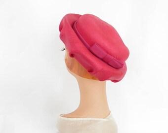 Pink straw hat, vintage tilt fuchsia, bullock's