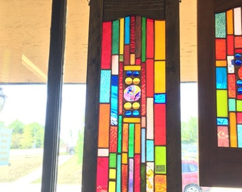 NEW Colorful stained glass panel suncatcher art glass home and garden glass art window treatment