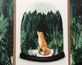 SNOW GLOBE FOX | Greeting / Christmas Card | Blank Inside
