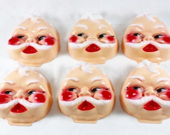 Santa Doll Faces Crafting Doll Faces Plastic Molded Mans Face Mustache Face C240