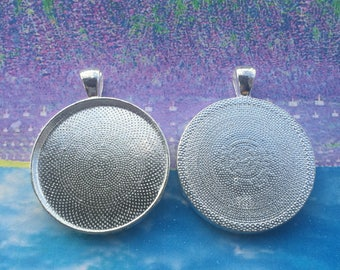 4pcs 30mm(cabochon size) bright silver round bezel trays blanks