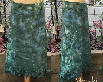 High Low Fairy Pixie Skirt, Hand dyed Skirt, Boho A line skirt