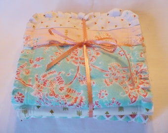 Baby Girl Rag Quilt Burp Cloth Set of 3 Girl Burp Towels Woodland Boho Tribal Arrows Peach Coral Aqua Mint with Gold Cotton Chenille