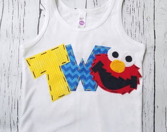 elmo birthday tank top, shirt, two, 2nd, girl boy t shirt,