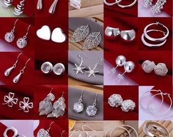 New 925 Sterling Silver SF Vintage Stud Clip Dangle Earrings