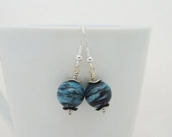 Chrysocolla Earrings, Gemstone Earrings, Blue Gemstone Earrings, Earrings in Blue