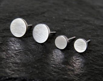 circle studs / simple disc studs / hypoallergenic earrings / surgical steel circle earrings / men stud earrings / boyfriend gift