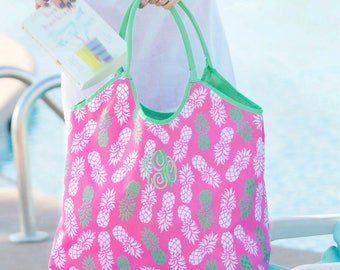 Pink Pineapple Beach Tote - Round Towel - Monogrammed Beach Bag - Swim Cover Up - Personalized Towel - Pink Beach Set - Round Beach Blanket