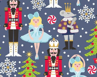 Snowflake Waltz - Nutcracker in Navy by Maude Asbury for Blend Fabrics