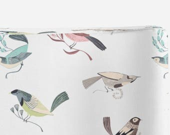 bird changing pad cover, perch, contoured changing pad cover, bird nursery, gender neutral changing pad cover
