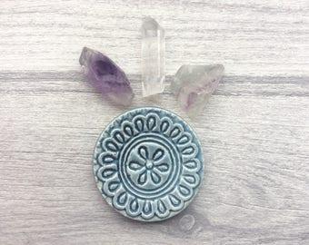 Blue Incense holder, ceramic Ring dish, pretty mandala pattern, geometric pattern, pottery candleholder, Altar Dish or tiny crystal bowl.