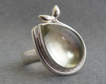 Green Quartz and Silver Seedling Ring