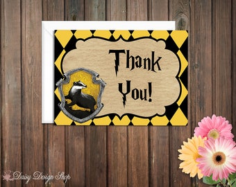Thank You Cards - Harry Potter Hufflepuff House Colors - Set of 10 with Envelopes