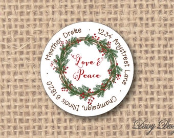 Round Return Address Labels with Winter Holiday Wreath - 96 self-sticking labels