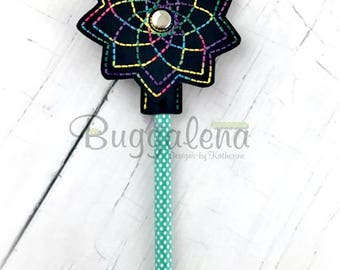 Mandala Spinning Pencil Topper Embroidery Design