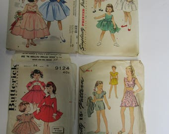 Lot of 4 Vintage Patterns Girls Dresses, Size 4 and 6 Used