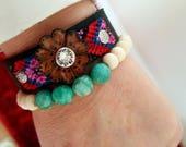 Leather boho flower cuff bracelet