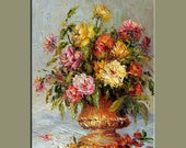 Vintage looks Original Oil Painting Palette Knife Colorful Flowers Vase roses  Bouquet Textured  by Marchella