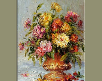 Vintage looks Original Oil Painting Palette Knife Colorful Flowers Vase roses  Bouquet Textured  by Marchella