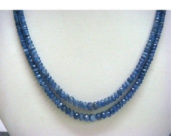 ON SALE 55% Sapphire - Blue Sapphire Faceted Rondelles - 5.5mm To 4.5mm - 50 beads -  5 Inches - 50 CTW