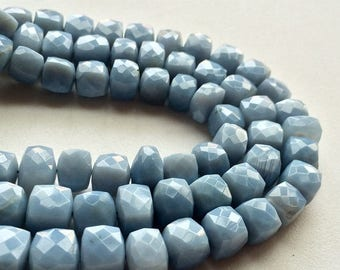 ON SALE 55% Blue Opal Beads, Blue Opal Faceted Box Beads, Blue Opal Cubes, Opal Necklace, 9-11mm Approx., 4 Inch Strand, 11 Pieces