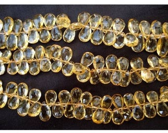 ON SALE 55% Citrine Faceted Beads - Pear Beads - 6x9-7x11mm Approx - 3.5 Inch Strand - 20 Pieces Approx