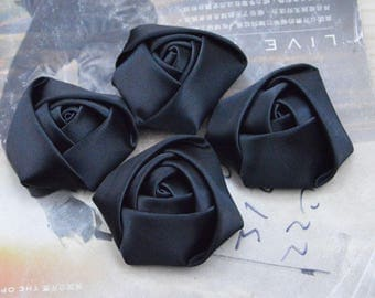 30 roses, satin roses, Black satin rose flowers, satin flowers, fabric flowers, applique rose, handmade ribbon flowers wholesale 45mm