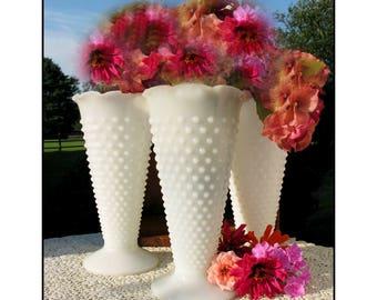 Milk Glass Hobnail Vase/ Wedding Collection/ Shabby Chic Trio / Vintage Milk Glass Wedding