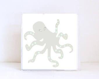octopus tropical beach nursery prints- tropical decor- animal print- boho nursery- beachy nursery art block nursery decor redtilestudio