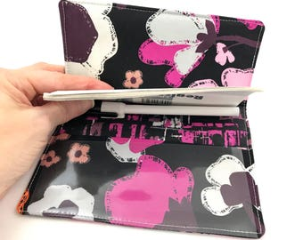 Purple Duplicate Checkbook Cover with Pen Holder Duplicate Checkbook Register Fabric Checkbook Cover Brave Bloomed in City