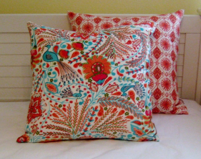 Peaceful Perch in Sherbet  Designer Pillow Cover - Square, Lumbar and Euro Sizes