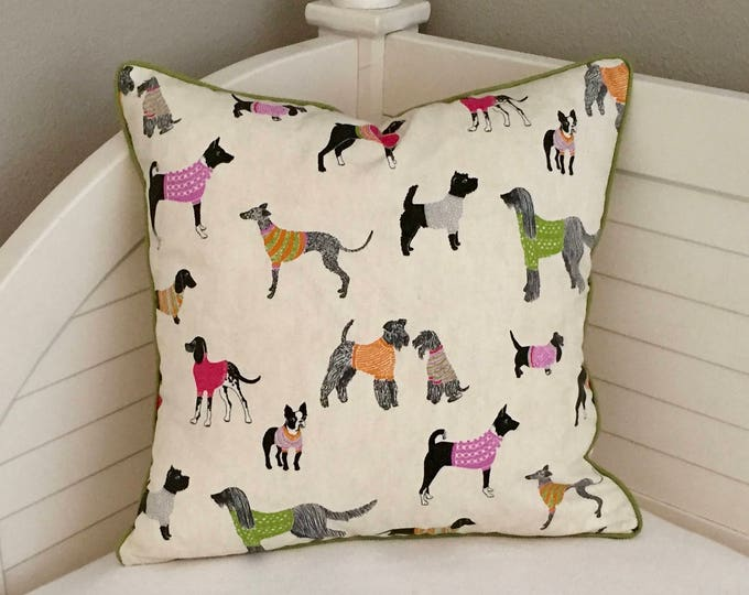 Pups in Sweaters Decorative Pillow Cover, Dog Designer Pillow Cover with Piping, Dog Print Pillow, Lumbar Pillow, Euro Pillow, Pillow Sham