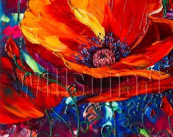 Modern Flower Canvas Oil Painting Red Poppy Poppies Textured Palette Knife Original  Floral Art 12X16 by Willson Lau