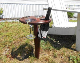 Portable Wood Picnic Wine Table by Kams-store.com