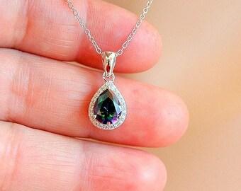 Silver Teardrop Mystic Topaz Necklace, CZ Sterling Silver Necklace, Rainbow Gemstone, Pear Shape Mystic Topaz Pendant, Rainbow Topaz Jewelr