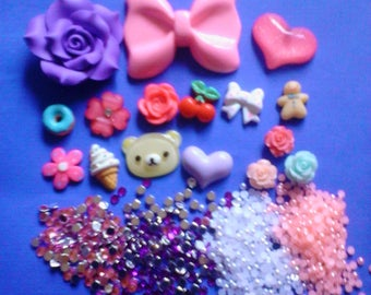 Kawaii cabochon decoden phone deco diy big pink bow charm kit    Y---USA seller