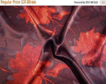 ON SALE Fabulous Chocolate Brown and Scarlet Orange Floral Print Pure Silk Charmeuse Fabric--One Yard