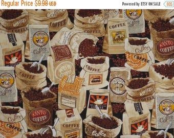 ON SALE REMNANT--Bags of Coffee Beans Print Pure Cotton Fabric--1.75 YardS